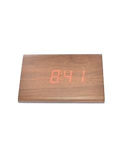 Aktif ses ve dokunma - raylinedo® son tasarım moda kahverengi ahşap kırmızı ışık ahşap dijital çalar saat -zaman sıcaklık tarih ekranı