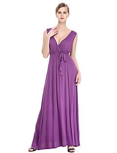 Damen Hülle Kleid-Übergröße Anspruchsvoll Solide Tiefes V Maxi Ärmellos Lila Baumwolle Polyester Sommer Mittlere Hüfthöhe Mikro-elastisch