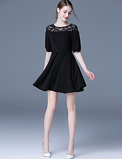 Women's Plus Size Slim A Line Dress Solid Patchwork Lace Cut Out Round Neck Mini Short Sleeve Black  Spring High Rise