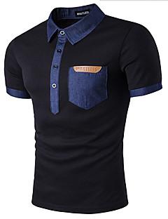 Lyhythihainen Pyöreä kaula-aukko Puuvilla Yksinkertainen Rento/arki T-paita,Yhtenäinen Valkoinen Musta