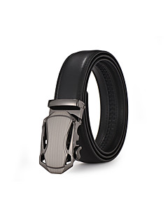 Men's Suits Dress Black Leather Waist Belt Strap Silver Automatic Belt Buckle