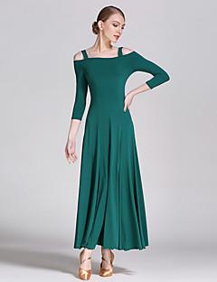 ריקודים סלוניים שמלות ביצועים Chinlon עטוף חלק 1 אורך שרוול 3/4 טבעי שמלות S:128cm  M:129cm L:130cm XL:131cm XXL:132cm