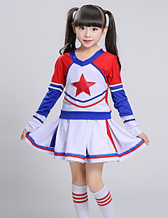 Girls' Going out Casual/Daily Sports Suit Color Block Patchwork Sets Cotton Summer Long Sleeve 2 Piece Cheerleader Clothing Set