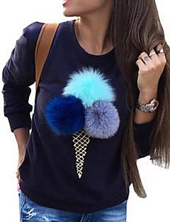 Damer Afslappet/Hverdag Sødt Sweatshirt Trykt mønster Rund hals Polyester Mikroelastisk Langærmet Vinter