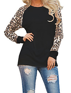Women's Plus Size Going out Casual/Daily Simple Street chic Fashion Loose Spring Fall T-shirtLeopard Round Neck Long Sleeve  Medium