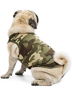 Gatos Cães Camiseta Moletom Colete Roupas para Cães Verão Primavera/Outono camuflagem Fofo Da Moda Casual Esportivo Clássico FériasPreto