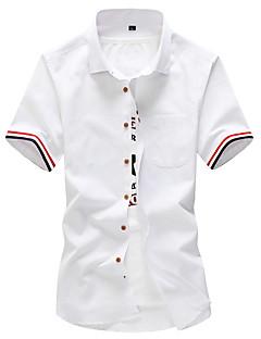 メンズ カジュアル/普段着 ワーク プラスサイズ 夏 シャツ,シンプル ストリートファッション 活発的 シャツカラー ソリッド ブルー レッド ホワイト グレイ コットン ポリエステル 半袖 ミディアム