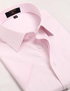 Masculino Camisa Casual / Escritório / Formal / Esporte Xadrez Manga Curta Algodão Rosa
