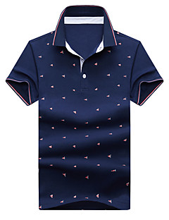 Bomull Spandex Tynn Medium Kortermet,Skjortekrage Polo Ensfarget Polkadotter Sommer Enkel Gatemote AktivFritid/hverdag Strand