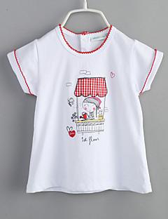 bebê Camiseta-Casual Estampado-Algodão-Verão-