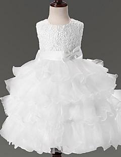 robe de bal longueur de genou robe de fille de fleur - organza sans manches bijou col par ydn