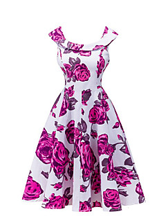 Feminino Vestidinho Preto Vestido, Para Noite Casual Vintage Floral Decote Redondo Acima do Joelho Sem Manga Azul Vermelho Poliéster Verão