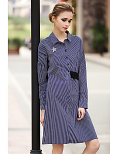 Women's Going out Casual/Daily Holiday Simple Loose Dress,Striped Round Neck Above Knee Long Sleeve Cotton Blue Spring Low Rise Inelastic