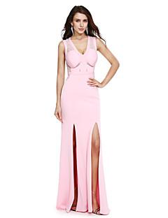 TS Couture Evento Formal Vestido - Fendas Tubinho Decote V Longo Microfibra Jersey com Renda Faixa / Fita Fenda Frontal