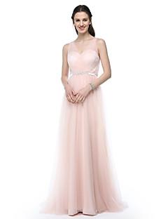 LAN TING BRIDE Longo Decote V Vestido de Madrinha - Elegante Sem Mangas Tule