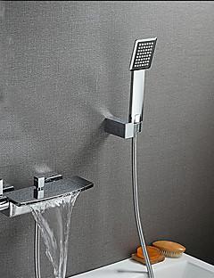 現代風 バスタブとシャワー 滝状吐水タイプ ワイドspary with  セラミックバルブ 二つのハンドル二つの穴 for  クロム , 浴槽用水栓