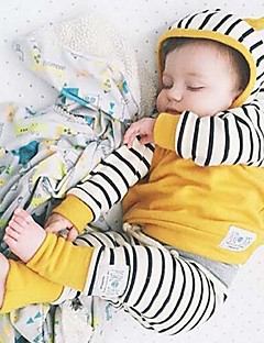 Baby Fashionable And Lovely Cotton Stripe Spell Hat Coat in Succession Striped Pants Two-Piece Outfit