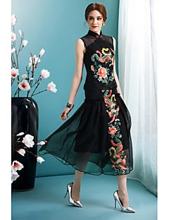 Damen Swing Kleid-Ausgehen Party/Cocktail Urlaub Boho Street Schick Blumen Ständer Midi Langarm Schwarz Polyester FrühlingMittlere
