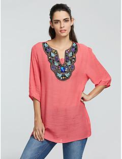 Blå / Rød / Hvit Tynn Halvlange ermer,V-hals Bluse Trykt mønster Alle sesonger Enkel Formelle / Plusstørrelser Dame