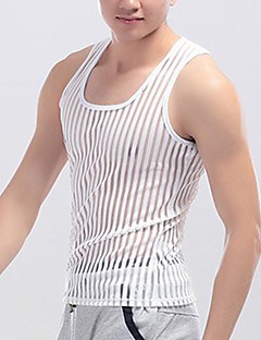 Men's Sports Going out Casual/Daily Sexy Simple Active Spring Summer Tank Top,Solid Striped Square Neck Sleeveless PolyesterMedium