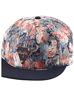 Unisex Cotton National Wind Lace Printing Metal Labeling Baseball Hat Flower Hip Hop Hat