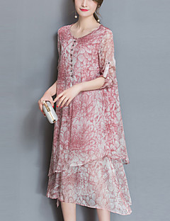 Women's Beach Going out Plus Size Chinoiserie Loose Chiffon Dress,Print Round Neck Asymmetrical Half Sleeves Polyester Spring SummerMid