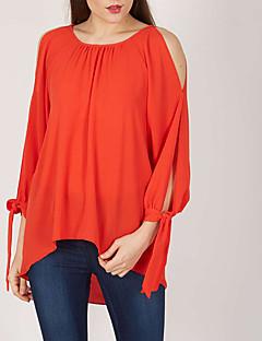 여성 솔리드 라운드 넥 긴 소매 티셔츠,심플 스트리트 쉬크 데이트 캐쥬얼/데일리 플러스 사이즈 폴리에스테르 봄 가을 중간