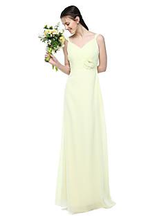 Lanting Bride® עד הריצפה שיפון אלגנטי שמלה לשושבינה  - מעטפת \ עמוד רצועות עם פרח(ים) קפלים