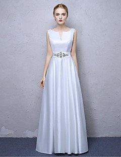 aラインVネックアンクル長サテンシフォンフォーマルイブニングドレス(クリスタルディテール)