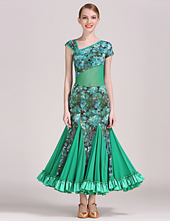 Ballroom Dance Outfits Women's Training Tulle / Velvet Pattern/Print / Ruffles 2 Pieces Green / Purple