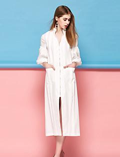 Kadın Günlük/Sade Sade Kombinezon Elbise Solid,¾ Kol Uzunluğu V Yaka Midi Pembe Beyaz Polyester Bahar Yaz Normal Bel Mikro-Esnek Orta