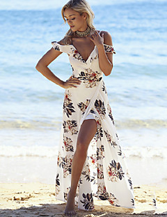 Women's Off The Shoulder|Boho Beach Sexy Loose DressPrint Split Deep V Maxi Sleeveless Polyester White Summer Mid Rise Micro-elastic Print Randomly