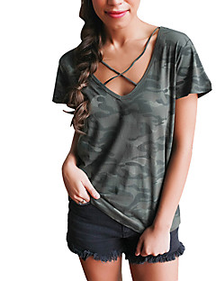 Women Going out Holiday Sexy Street chic All Match Loose Summer T-shirtCamouflage V Neck Short Sleeve Criss-Cross Medium