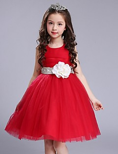 Ball Gown Short / Mini Flower Girl Dress - Organza Jewel with Flower(s) Sash / Ribbon