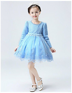 A-line Knee-length Flower Girl Dress - Lace Jewel with Lace