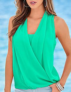 Damen Solide Sexy Einfach Lässig/Alltäglich Übergröße Ausgehen Tank Tops,V-Ausschnitt Sommer Herbst Ärmellos Polyester Mittel