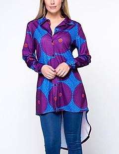 Camicia Da donna Casual Moda città Primavera Autunno,Con stampe Colletto Cotone Viola Manica lunga Medio spessore