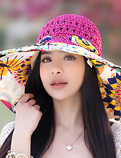 Women Summer Sun Folded Beach Hollow Woven Flower Printing Bow Lace Straw Hat