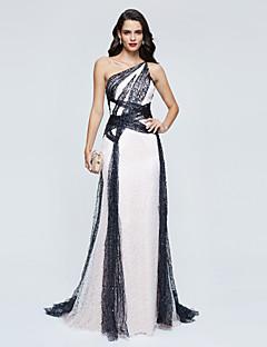 A-Linie Jedno rameno Dlouhá vlečka Flitry Formální večer Šaty s Flitry Sklady podle TS Couture®