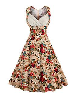 Linia A Sukienka Damskie Wyjściowe Codzienne Vintage Moda miejska Kwiaty,Dekolt serduszko Do kolan Bez rękawów Wielokolorowy/a Bawełna