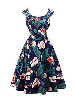 Little Black Sukienka Damskie Wyjściowe Codzienne Vintage Kwiaty,Okrągły dekolt Przed kolano Bez rękawów Niebieski Zielony Poliester Lato