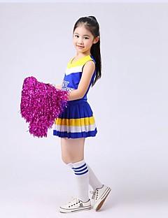 Fantasias para Cheerleader Roupa Crianças Actuação Elastano Pano 2 Peças Sem Mangas Natural Topo Saia