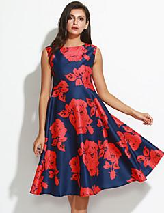Linia A Sukienka Vintage Kwiaty,Okrągły dekolt Midi Bez rękawów Czerwony Jedwab Wiosna Wysoki stan Średnio elastyczny/a