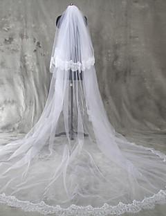 웨딩 면사포 두층 블러셔 베일 성당 베일 레이스처리된 가장자리 명주그물