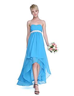 Lanting Bride® Assimétrico Chiffon Frente Única Vestido de Madrinha - Linha A Coração com Faixa / Fita / Pregas