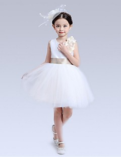 Ball Gown Short / Mini Flower Girl Dress - Organza Jewel with Bow(s) Flower(s) Sash / Ribbon