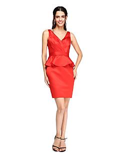 Tubinho Decote V Curto / Mini Cetim Vestido de Madrinha com Faixa / Fita Cruzado de LAN TING BRIDE®