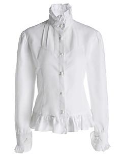 Bluse/Skjorte Klassisk og Traditionel Lolita Lolita Cosplay Lolita Kjoler Hvid Ensfarvet Lang Ærmet Lolita Bluse For Dame Bomuld