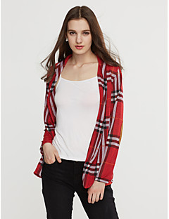 Women's Casual/Daily Simple Spring Blouse,Check Notch Lapel Long Sleeve Blue / Red Cotton Opaque / Medium