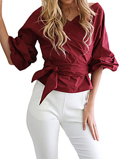 Women's Casual/Daily Simple T-shirt,Solid V Neck ½ Length Sleeve Blue Red White Polyester